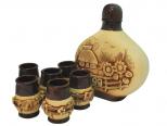 50101 Набор винный Укр. лепка  (штоф 1800мл+ 6 стаканов 110мл)