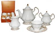 1787 Набор чайный 15пр.(чашка-220мл, блюдце-15см) Кружево