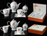 1785 Набор чайный 15пр. 200мл микс2 золотой (Чайник 1100мл, чашка 200мл, молочник 320мл, сахарница 350мл ) Кристаллы