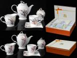 1785 Набор чайный 15пр. 200мл микс1 розовый (Чайник 1100мл, чашка 200мл, молочник 320мл, сахарница 350мл ) Сваровски