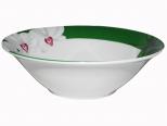 3077-12 Салатник 6 'Белая Орхидея (зеленый ободок) (48)