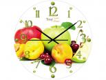 01-098 Часы настен. серия Кухня Фрукты стекло/кругл. 28см