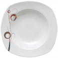 30822-G11 Тарелка 9' суп квадрат Золотой завиток (24)