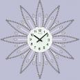 02-225 Часы настенные с камнями белый металл 40х40 см