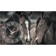 06-210 Часы настенные на холсте Лошади 50*30см