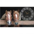 06-204 Часы настенные на холсте Лошади 50*30см