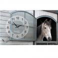 06-200 Часы настенные на холсте Лошади 50*30см
