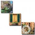 06-303 Часы настенные на холсте 3х секционные Каналы Венеции (30*30см 1 секция)