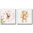 06-110 Часы настенные на холсте 2х секционные Мишка детский (28*28см 1 секция)