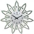 02-225 Часы настенные с камнями зелёный металл 40х40 см