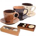 1517-02 Сервиз чайный 12пр. (чашка 200мл, блюдце 12см) Карамель