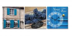 06-319 Часы настенные на холсте Букет лаванды 30*30см