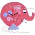05-205 Часы настенные Слон розовый детские МДФ 33,5 * 4,5 * 27,5см