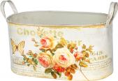 555-053-2 Кашпо круглое металлическое с ручками  Чайная роза 24х14х14см