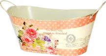 555-022-1 Кашпо-лодочка металлическое Розовые мечты 29*17*13,5 см