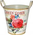 555-045-1 Кашпо круглое металлическое с ручками  Розовая роза 18x18cm