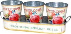 555-044 Набор металлических кашпо на подставке Розовая роза 35x12x6-12, 12x14cm