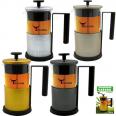 9016 Заварочный чайник с поршнем 400мл, 4 цвета Микс с тиснением