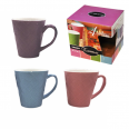 9015 Чашка 320мл, 6 цветов Микс с цветным тиснением