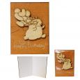 95405-06 Мини-открытка HAPPY BIRTHDAY Слон с шариками ,95*70мм коричневая