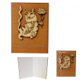 95405-04 Мини-открытка HAPPY BIRTHDAY Кот с цветком,95*70мм коричневая