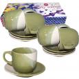 1010 Набор чайный 12пр. зеленый (блюдце-14см,чашка-240мл)