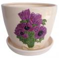 647-005/2 Горшок Пурпурные цветы 15*13