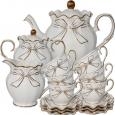 022-15-01 Набор чайный 15пр. Белый бант (чашка-240мл, блюдце-14см)