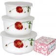 30054-1067 Набор емкостей для хранения продуктов с крышкой 4шт (7 ', 6', 5 ', 4,2') Красный мак