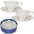 170 Сервиз на 6 персон (чашка-220мл, блюдце-14см) Снежная королева (белый с золотом)