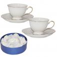 1762 Сервиз чайный 12 пр. Снежная королева (белый с золотом) (чашка-250мл, блюдце-16,5см)