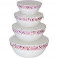30054-15017 Набор емкостей для хранения продуктов с крышкой 4шт (7' ,6' , 5' , 4,5' )  Цветение сакуры