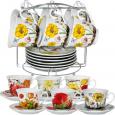 152-01 Сервиз чайный 12пр. на металической стойке 'Цветы' микс2  200мл,d14см