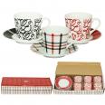 022-12-18 Сервиз кофейный 12пр. Красное и черное (чашка-150мл, блюдце-13см)