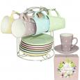 1464-6 Сервиз чайный 12 предметов на стойке 'Адель' (чашка-230мл, блюдце-15)