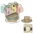 1458-5  Сервиз кофейный 12 предметов на стойке 'Аромат' (чашка-100мл, блюдце-12см)