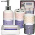 888-06-008 Набор 4предмета (мыльница, подставка для зубных щеток, стакан, диспенсер для мыла) 'Ситец'