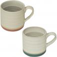 3575-19 Чашка Микс 400мл 2цв.(белая с розовым ободком или белая с голубым ободком)