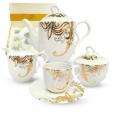 1788-4 Набор чайный 15пр. Жаклин  (чашка - 220мл, блюдце - 15,5см, сахарница - 340мл, молочник - 260мл, чайник - 1,3л)