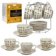 3629-09 Набор чайный на стойке 12пр Иллюзия (чашка - 200мл, блюдце - 14см)