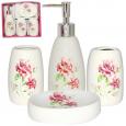 888-06-017 Набор 4 пр Полевые цветы (мыльница, подставка для зубных щеток, стакан, диспенсер для мыла)