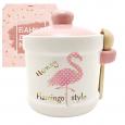 700-04-13 Банка для меда с деревянной ложкой 'Фламинго' (13*12см, об-м 450мл)