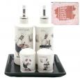 700-06-10 Набор 5 пр. (2 бутылки для масла/уксуса и набор для соли и перца на кер. подст.) 'Гурман' (24)