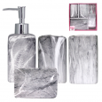 888-06-021 Набор 4 пр Гранит (мыльница, подставка для зубных щеток, стакан, диспенсер для мыла)