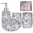 888-06-023 Набор 4 пр Зебра (мыльница, подставка для зубных щеток, стакан, диспенсер для мыла)
