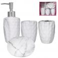 888-06-022 Набор 4 пр Мрамор (мыльница, подставка для зубных щеток, стакан, диспенсер для мыла)