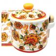 2370-16 Банка для меда с деревянными ложкой 'Цветочная роспись' (h-8,5 см, d-10см, об-м 420мл)