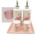 700-06-13 Набор 5пр. (2 бутылки для масла/уксуса, набор для соли и перца на кер. подставке) 'Фламинго'