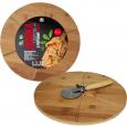 8845 Доска разделочная бамбуковая с прорезями Пицца 30*30*1,5см