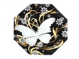 332 Тарелка Восьмигранник 25 см (бабочка)